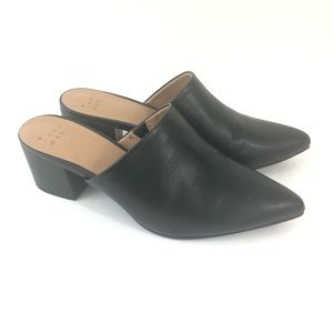 A New Day 7 Black Pointed Toe Slip On Heels Mules